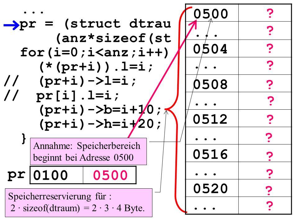 ... pr = (struct dtrau. (anz*sizeof(st. for(i=0;i<anz;i++) (*(pr+i)).l=i; // (pr+i)->l=i; // pr[i].l=i;